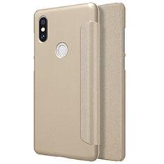 Xiaomi Mi Mix 2S用手帳型 レザーケース スタンド Xiaomi ゴールド