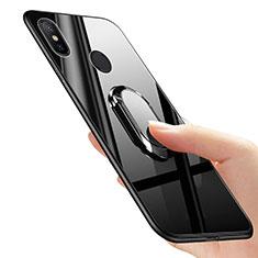 Xiaomi Mi Mix 2S用極薄ソフトケース シリコンケース 耐衝撃 全面保護 アンド指輪 Xiaomi ブラック