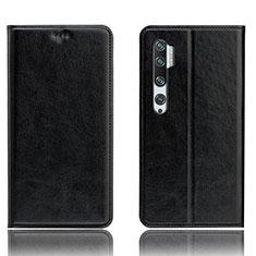 Xiaomi Mi Note 10用手帳型 レザーケース スタンド カバー T12 Xiaomi ブラック