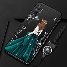 Xiaomi Mi Note 10用シリコンケース ソフトタッチラバー バタフライ ドレスガール ドレス少女 カバー S01 Xiaomi グリーン