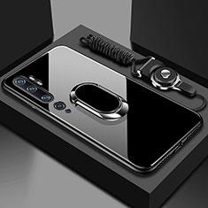 Xiaomi Mi Note 10用ハイブリットバンパーケース プラスチック 鏡面 カバー アンド指輪 マグネット式 T01 Xiaomi ブラック