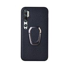 Xiaomi Mi Note 10 Pro用極薄ソフトケース シリコンケース 耐衝撃 全面保護 アンド指輪 マグネット式 バンパー T01 Xiaomi ブラック
