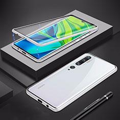Xiaomi Mi Note 10 Pro用ケース 高級感 手触り良い アルミメタル 製の金属製 360度 フルカバーバンパー 鏡面 カバー Xiaomi シルバー