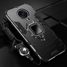 Xiaomi Poco F2 Pro用ハイブリットバンパーケース プラスチック アンド指輪 マグネット式 R01 Xiaomi ブラック