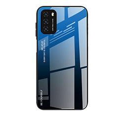 Xiaomi Poco M3用ハイブリットバンパーケース プラスチック 鏡面 虹 グラデーション 勾配色 カバー H01 Xiaomi ネイビー
