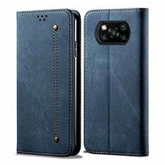 Xiaomi Poco X3 NFC用手帳型 布 スタンド Xiaomi ネイビー