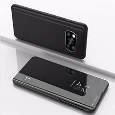 Xiaomi Poco X3 NFC用手帳型 レザーケース スタンド 鏡面 カバー L03 Xiaomi ブラック