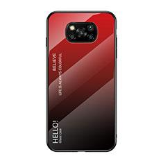 Xiaomi Poco X3 NFC用ハイブリットバンパーケース プラスチック 鏡面 虹 グラデーション 勾配色 カバー Xiaomi レッド