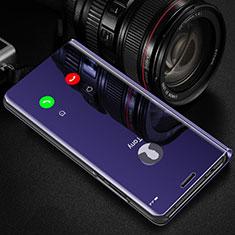 Xiaomi Poco X3 NFC用手帳型 レザーケース スタンド 鏡面 カバー L01 Xiaomi パープル