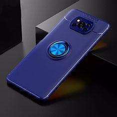 Xiaomi Poco X3 NFC用極薄ソフトケース シリコンケース 耐衝撃 全面保護 アンド指輪 マグネット式 バンパー Xiaomi ネイビー