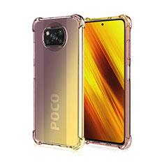 Xiaomi Poco X3 NFC用極薄ソフトケース グラデーション 勾配色 クリア透明 Xiaomi ブラウン
