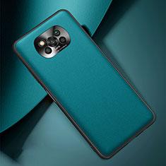 Xiaomi Poco X3 NFC用ケース 高級感 手触り良いレザー柄 Xiaomi シアン