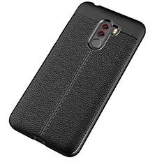 Xiaomi Pocophone F1用シリコンケース ソフトタッチラバー レザー柄 Xiaomi ブラック