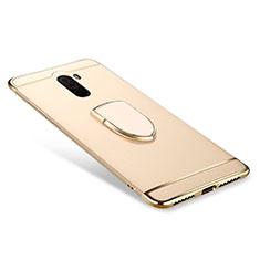 Xiaomi Pocophone F1用ケース 高級感 手触り良い メタル兼プラスチック バンパー アンド指輪 A01 Xiaomi ゴールド