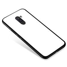 Xiaomi Pocophone F1用ハイブリットバンパーケース プラスチック 鏡面 カバー Xiaomi ホワイト