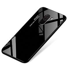Xiaomi Pocophone F1用ハイブリットバンパーケース プラスチック 鏡面 虹 グラデーション 勾配色 カバー Xiaomi ブラック