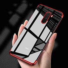 Xiaomi Pocophone F1用極薄ソフトケース シリコンケース 耐衝撃 全面保護 クリア透明 T02 Xiaomi レッド