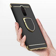 Xiaomi Pocophone F1用ケース 高級感 手触り良い メタル兼プラスチック バンパー アンド指輪 Xiaomi ブラック