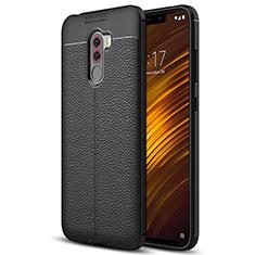 Xiaomi Pocophone F1用シリコンケース ソフトタッチラバー レザー柄 Q01 Xiaomi ブラック