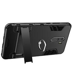 Xiaomi Pocophone F1用ハイブリットバンパーケース プラスチック アンド指輪 兼シリコーン Xiaomi ブラック