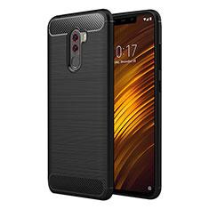 Xiaomi Pocophone F1用シリコンケース ソフトタッチラバー ツイル Xiaomi ブラック