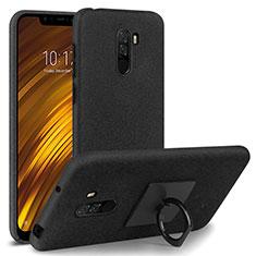 Xiaomi Pocophone F1用ハードケース カバー プラスチック アンド指輪 Xiaomi ブラック