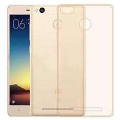 Xiaomi Redmi 3S用極薄ソフトケース シリコンケース 耐衝撃 全面保護 クリア透明 Xiaomi ゴールド