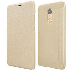 Xiaomi Redmi 5用手帳型 レザーケース スタンド Xiaomi ゴールド
