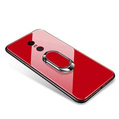 Xiaomi Redmi 5 Plus用ハイブリットバンパーケース プラスチック 鏡面 カバー アンド指輪 Xiaomi レッド