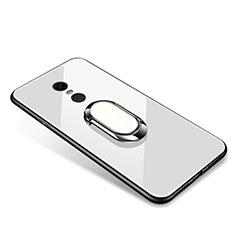 Xiaomi Redmi 5 Plus用ハイブリットバンパーケース プラスチック 鏡面 カバー アンド指輪 Xiaomi ホワイト