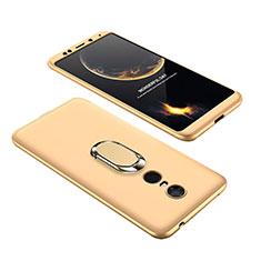 Xiaomi Redmi 5 Plus用ハードケース プラスチック 質感もマット 前面と背面 360度 フルカバー アンド指輪 Xiaomi ゴールド