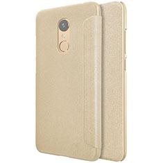 Xiaomi Redmi 5 Plus用手帳型 レザーケース スタンド Xiaomi ゴールド