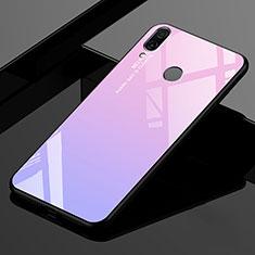 Xiaomi Redmi 7用ハイブリットバンパーケース プラスチック 鏡面 虹 グラデーション 勾配色 カバー Xiaomi ピンク