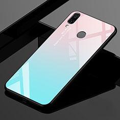 Xiaomi Redmi 7用ハイブリットバンパーケース プラスチック 鏡面 虹 グラデーション 勾配色 カバー Xiaomi シアン