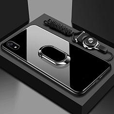 Xiaomi Redmi 7A用ハイブリットバンパーケース プラスチック 鏡面 カバー アンド指輪 マグネット式 Xiaomi ブラック