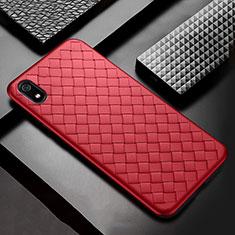 Xiaomi Redmi 7A用シリコンケース ソフトタッチラバー レザー柄 Xiaomi レッド