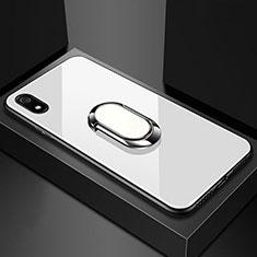 Xiaomi Redmi 7A用ハイブリットバンパーケース プラスチック 鏡面 カバー アンド指輪 マグネット式 A01 Xiaomi ホワイト