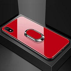 Xiaomi Redmi 7A用ハイブリットバンパーケース プラスチック 鏡面 カバー アンド指輪 マグネット式 A01 Xiaomi レッド