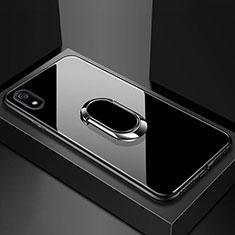 Xiaomi Redmi 7A用ハイブリットバンパーケース プラスチック 鏡面 カバー アンド指輪 マグネット式 A01 Xiaomi ブラック