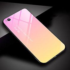 Xiaomi Redmi Go用ハイブリットバンパーケース プラスチック 鏡面 虹 グラデーション 勾配色 カバー Xiaomi ピンク