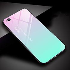 Xiaomi Redmi Go用ハイブリットバンパーケース プラスチック 鏡面 虹 グラデーション 勾配色 カバー Xiaomi シアン