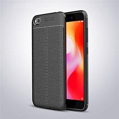 Xiaomi Redmi Go用シリコンケース ソフトタッチラバー レザー柄 Xiaomi ブラック