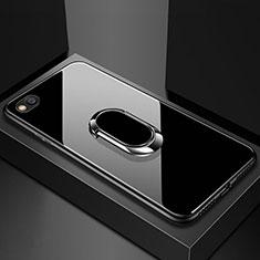 Xiaomi Redmi Go用ハイブリットバンパーケース プラスチック 鏡面 カバー アンド指輪 マグネット式 Xiaomi ブラック