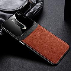 Xiaomi Redmi K30 5G用シリコンケース ソフトタッチラバー レザー柄 カバー Xiaomi ブラウン