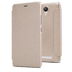 Xiaomi Redmi Note 2用手帳型 レザーケース スタンド Xiaomi ゴールド