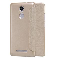 Xiaomi Redmi Note 3 MediaTek用手帳型 レザーケース スタンド Xiaomi ゴールド