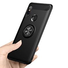 Xiaomi Redmi Note 5 AI Dual Camera用極薄ソフトケース シリコンケース 耐衝撃 全面保護 アンド指輪 A02 Xiaomi ブラック