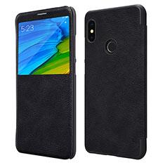Xiaomi Redmi Note 5用手帳型 レザーケース スタンド Xiaomi ブラック