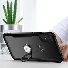Xiaomi Redmi Note 6 Pro用360度 フルカバーハイブリットバンパーケース クリア透明 プラスチック 鏡面 アンド指輪 マグネット式 Xiaomi ブラック