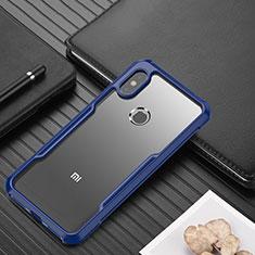 Xiaomi Redmi Note 6 Pro用ハイブリットバンパーケース クリア透明 プラスチック 鏡面 カバー Xiaomi ネイビー